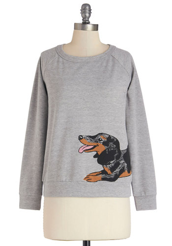 Only You Know Hound Sweatshirt - Grey, Long Sleeve, Mid-length, Cotton, Knit, Grey, Casual, Quirky, Print with Animals, Critters, Long Sleeve, Exclusives, Dog