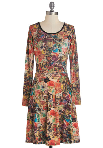 All Atlas Pass Dress - Multi, Novelty Print, Casual, A-line, Long Sleeve, Good, Scoop, Mid-length, 90s