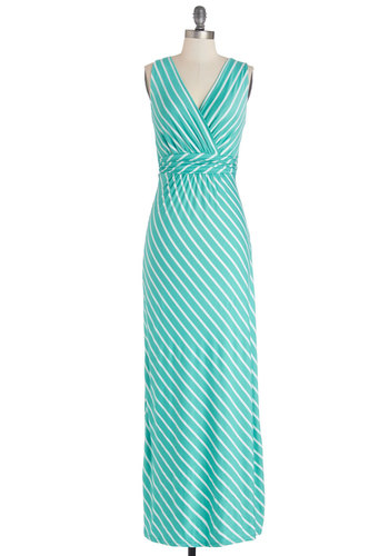 Adore County Dress in Aqua - Knit, Long, Mint, White, Stripes, Ruching, Casual, Maxi, Sleeveless, Summer, Good, V Neck, Variation, Jersey