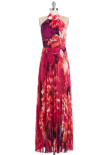 Coastal Cocktails Dress - Maxi, Long, Chiffon, Woven, Pink, Special Occasion, Prom, Halter, Better, Floral, Pleats, Wedding, Bridesmaid, Summer