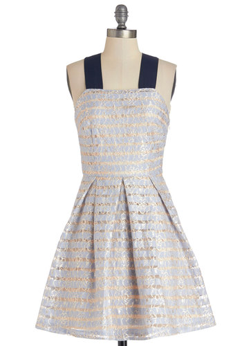 Bright and Buoyant Dress - Blue, Stripes, Lace, Daytime Party, A-line, Sleeveless, Better, Woven, Mid-length, Tan / Cream, Pleats, Fit & Flare