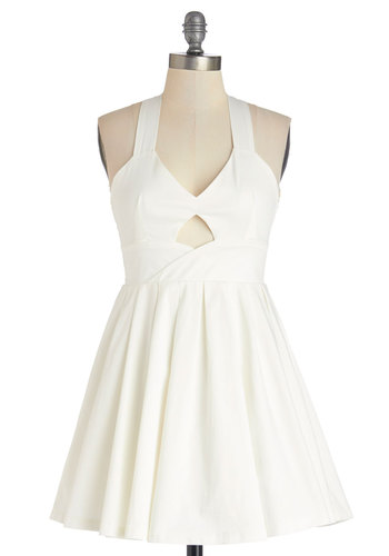Runway the Show Dress - Cotton, Woven, Short, White, Solid, Backless, Cutout, Pleats, Party, A-line, Sleeveless, Sundress, Summer