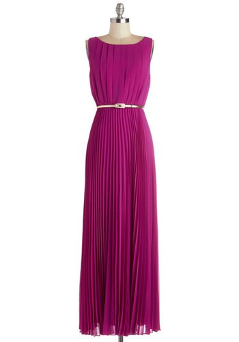 Dancing in Romance Dress in Purple - Chiffon, Woven, Solid, Exposed zipper, Pleats, Belted, Special Occasion, Prom, Wedding, Bridesmaid, Maxi, Sleeveless, Better, Variation, Purple, Party