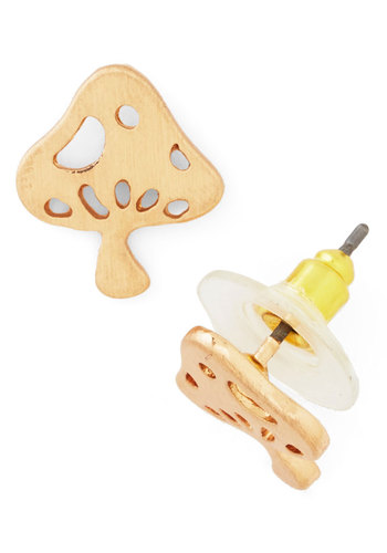 Mushroom into Bloom Earrings - Solid, Mushrooms, Gold, Good, 60s, Under $20, Exclusives, Social Placements