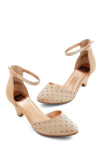 Gliding By Heel in Peach by BC Footwear - Mid, Leather, Cream, Solid, Cutout, Prom, Wedding, Daytime Party, Vintage Inspired, 20s, Better, Tan