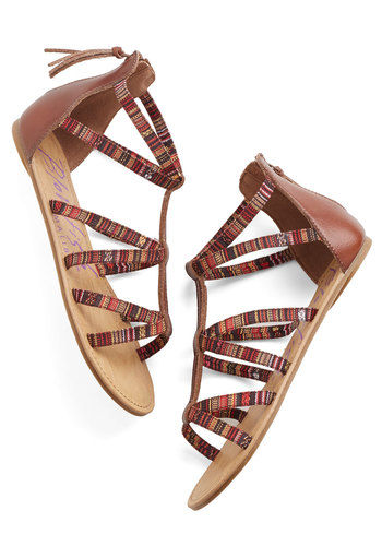 Thread of Life Sandal - Brown, Multi, Stripes, Strappy, Flat, Faux Leather, Woven, Boho, Festival, Summer