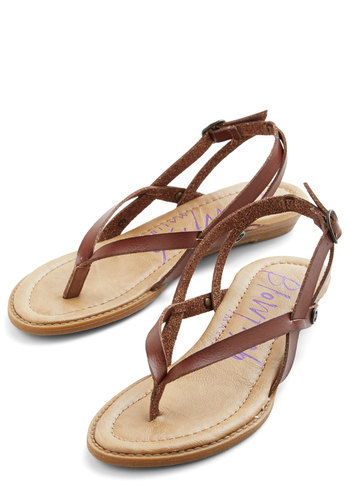 Camp Hardly Wait Sandal in Brown - Low, Faux Leather, Brown, Solid, Beach/Resort, Minimal, Summer, Better, Variation, Strappy