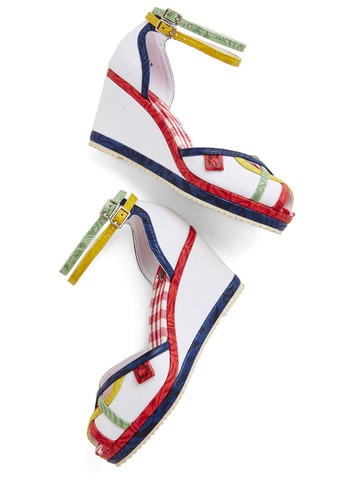 Prism is a Dancer Wedge by Miss L Fire - Mid, Woven, White, Multi, Solid, Stripes, Party, Daytime Party, Statement, Spring, Summer, Best, Wedge, Peep Toe, Fruits