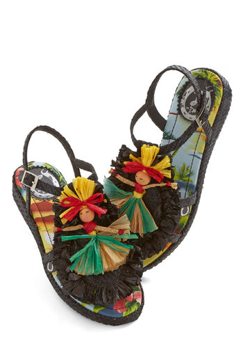 Hula Wide World Sandal by Miss L Fire - Low, Woven, Black, Multi, Novelty Print, Beach/Resort, Quirky, Best, Summer