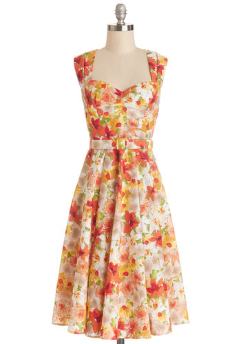 Dreamy Day Away Dress in Garden - Multi, Floral, Pleats, Belted, Daytime Party, Fit & Flare, Sleeveless, Better, Sweetheart, Cotton, Woven, Long, Graduation