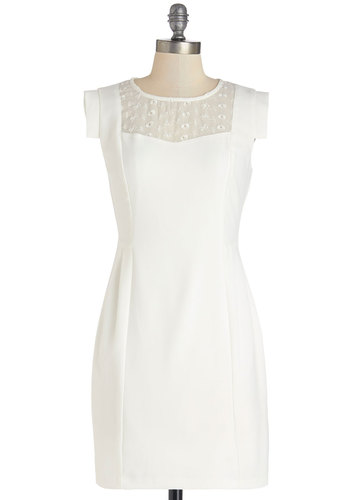 Exuberant Entrance Dress - White, Solid, Eyelet, Party, Daytime Party, Shift, Cap Sleeves, Better, Scoop, Woven, Short, Sheer, Graduation