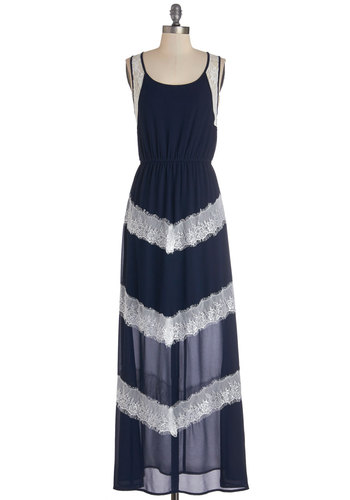 Plethora of Panache Dress - Blue, White, Stripes, Lace, Casual, Maxi, Sleeveless, Good, Scoop, Woven, Long