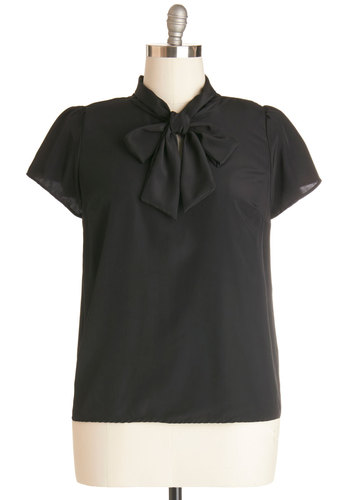 Tie for First Top in Black - Plus Size - Black, Solid, Short Sleeves, Chiffon, Woven, Tie Neck, Work, Daytime Party, Variation