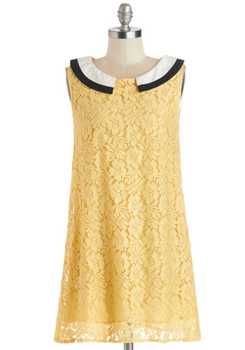 Sunny Day Brunch Dress - Yellow, Black, White, Solid, Lace, Casual, Shift, Sleeveless, Better, Collared, Short, Vintage Inspired, 60s, Woven, Lace