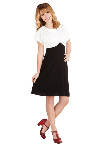 Debonair Duo Dress by Closet - Woven, Black, White, Belted, Party, A-line, Short Sleeves, Better, Exposed zipper, Mid-length