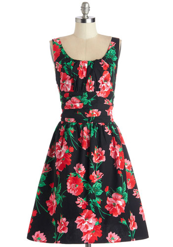 Lovely Nights Dress - Multi, Floral, A-line, Sleeveless, Better, Scoop, Mid-length, Cotton, Woven, Ruching, Daytime Party