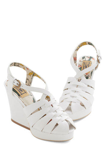 Disco Weaver Wedge by Miss L Fire - High, Leather, White, Solid, Cutout, Party, Daytime Party, Spring, Summer, Best, Peep Toe, Slingback