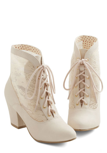 Lace Against Time Bootie in Cream by Bait Footwear - Mid, Faux Leather, Lace, Cream, Solid, Lace, French / Victorian, Lace Up, Variation, Top Rated