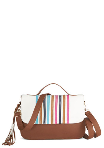 Dandy Striper Bag - Stripes, Festival, Faux Leather, Multi, Tan / Cream, White, 60s, Beach/Resort, Work