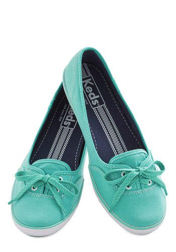 Coast of All Flat in Mint by Keds - Flat, Woven, Mint, Solid, Casual, Better, Lace Up, Variation, Summer, 90s