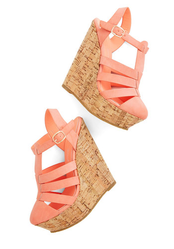 Coastal Cookout Wedge - High, Faux Leather, Coral, Solid, Cutout, Daytime Party, Pastel, Spring, Summer, Platform, Wedge, Strappy