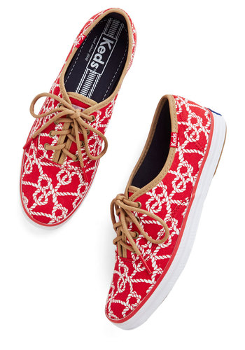 Row, Row, Rope Your Boat Sneaker by Keds - Low, Woven, Red, Multi, Novelty Print, Casual, Nautical, Spring, Better, Lace Up, Summer, Americana, 90s