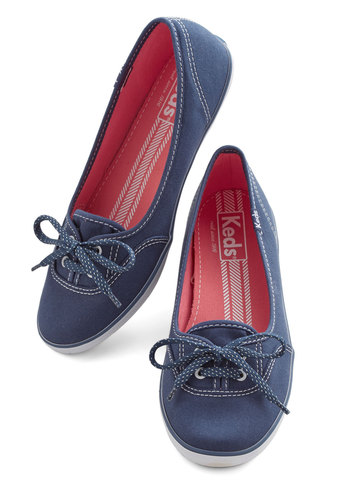Coast of All Flat in Navy - Flat, Woven, Blue, Solid, Casual, Nautical, Better, Lace Up, Variation, Summer, Americana