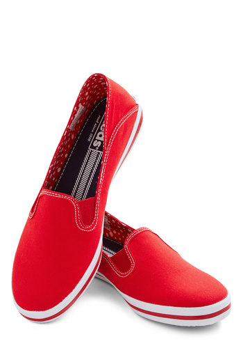 Down for a Day Trip Flat in Red by Keds - Low, Woven, Red, Solid, Casual, Nautical, Better, Variation, Summer, Americana, 90s