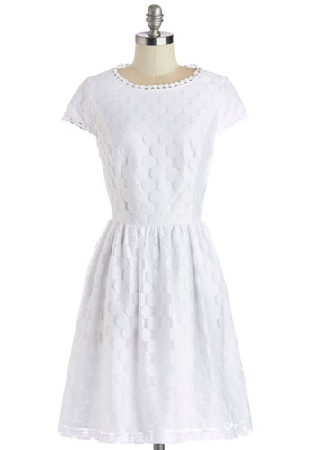 Spinning into Spring Dress by Kensie - White, Polka Dots, Trim, Daytime Party, Graduation, A-line, Cap Sleeves, Better, Woven, Mid-length