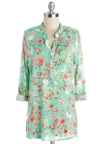 Favorite Novel Top - Better, Green, Tab Sleeve, Long, Mint, Multi, Floral, Casual, Long Sleeve, Woven