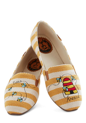 Keep It 'Miel' Cool Flat by Miss L Fire - Flat, Woven, Multi, Yellow, Tan / Cream, Stripes, Novelty Print, Casual, Critters, Press Placement