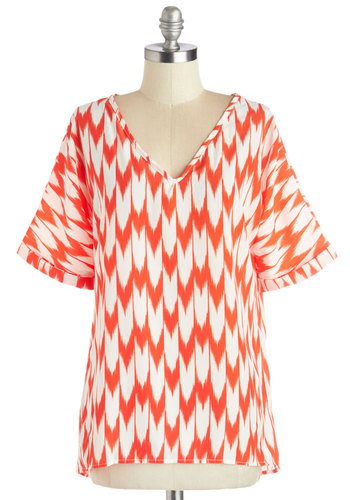 Mast and Present Top in Zigzag - White, Casual, Short Sleeves, Spring, Summer, V Neck, Mid-length, Red, Print, Chiffon, Red, Short Sleeve, Good
