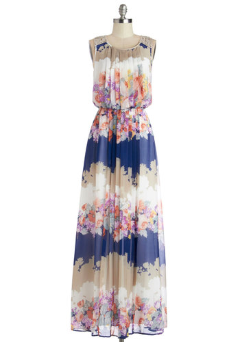 Flow This Way Dress - Multi, Floral, Crochet, Pleats, Daytime Party, Maxi, Sleeveless, Better, Scoop, Long, Chiffon, Sheer, Woven, Summer