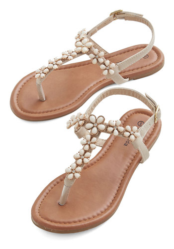 Sunny SoCal Weekend Sandal - Flat, Faux Leather, Tan, Flower, Wedding, Daytime Party, Bridesmaid, Fairytale, Summer, Good, Rhinestones, Statement