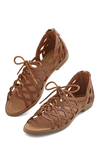 Spring into Active Sandal in Caramel - Flat, Faux Leather, Brown, Solid, Cutout, Casual, Boho, Summer, Good, Lace Up, Variation