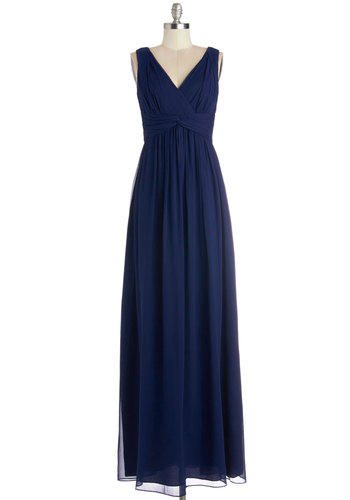 Grand Guest Dress in Navy - Maxi, Prom, Wedding, Bridesmaid, Homecoming, Long, Chiffon, Woven, Blue, Solid, Sleeveless, Variation, V Neck