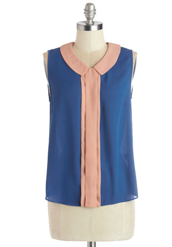 Magnificent Morning Top - Woven, Mid-length, Blue, Pink, Peter Pan Collar, Work, Vintage Inspired, Sleeveless, Blue, Sleeveless, 60s