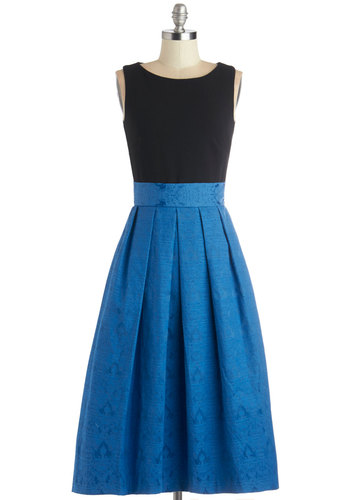 Serendipitous Occasion Dress by Closet - Blue, Black, Exposed zipper, Pleats, Party, A-line, Sleeveless, Better, Scoop, Long, Solid, Pockets, Twofer, Woven, Cocktail
