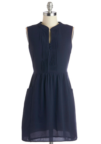 Sipping Punch Dress in Navy - Short, Blue, Solid, Pockets, Casual, A-line, Sleeveless, Better, Buttons, Variation, WPI