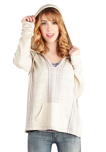 Beachy Evening Sweater - Long Sleeve, Woven, Mid-length, Tan, Multi, Pockets, Casual, Boho, Long Sleeve, White, Hoodie