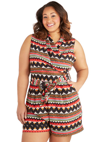 Canyon Recreation Romper in Plus Size - Woven, Multi, Print, Pockets, Belted, Casual, Sleeveless, Cover-up, Summer