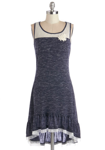 Comfy and Cute Dress - Blue, Tan / Cream, Lace, Ruffles, Casual, A-line, Sleeveless, Better, Scoop, Short, Jersey, Sheer, Knit