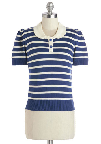 Let's Bowl Tonight Top - Short, Knit, Blue, Tan / Cream, Stripes, Buttons, Work, Vintage Inspired, 50s, Short Sleeves, Collared, Blue, Short Sleeve, Americana