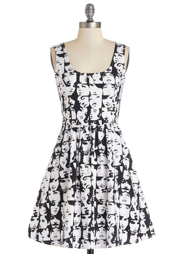 Good Enough to Glance Dress - Black, White, Novelty Print, Pockets, Casual, A-line, Sleeveless, Better, Scoop, Woven, Top Rated, Statement, Full-Size Run, Mid-length