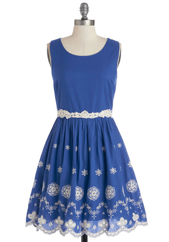 Lake in the Day Dress - Blue, White, Embroidery, Eyelet, Daytime Party, A-line, Sleeveless, Good, Scoop, Cotton, Woven