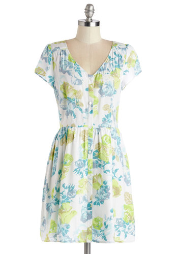 Cultivating Charisma Dress by Jack by BB Dakota - Festival, Woven, Mid-length, Floral, Buttons, Casual, Sundress, A-line, Cap Sleeves, Better, V Neck, Multi, Vintage Inspired, 90s