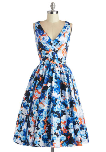 Picture Perfection Dress - Multi, Floral, Party, Fit & Flare, Sleeveless, Summer, Woven, Better, V Neck, Exposed zipper, Pockets, Long, Cotton, Blue, Special Occasion, Prom, Wedding, Bridesmaid
