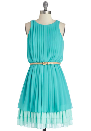 Amy to Please Dress in Aqua - Blue, Pleats, Tiered, Belted, Party, A-line, Sleeveless, Better, Scoop, Chiffon, Mid-length, Variation, Woven, Graduation