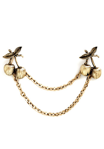 Cherry Charming Collar Pin - Solid, Vintage Inspired, 20s, 30s, Fruits, Gold, Gold, Exclusives, 60s