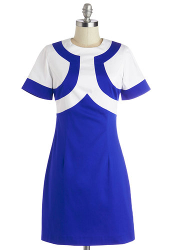 Instant Obsession Dress - White, Casual, Vintage Inspired, 60s, Mod, Shift, Short Sleeves, Better, Mid-length, Knit, Blue, Beach/Resort